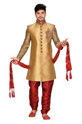 Gold Brocket Wedding Sherwani