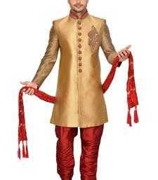 Buy Gold brocket wedding sherwani wedding-sherwani online