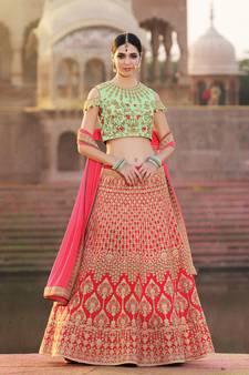 4d3e1e055a Buy Pink embroidered silk semi stitched lehenga with dupatta wedding-lehenga  online
