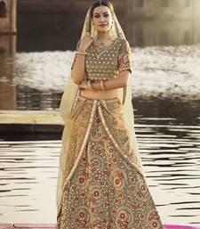 Buy Green embroidered silk semi stitched  lehenga with dupatta wedding-lehenga online
