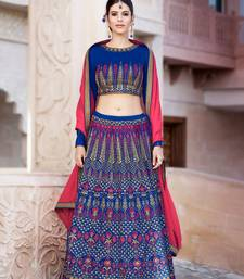 Buy Blue embroidered silk semi stitched lehenga with dupatta party-lehenga online