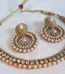 Golden pearl polki necklace set