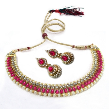 Dark Pink color pearl gota necklace set