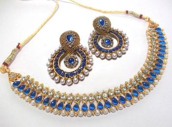Golden Blue Diamond pearl polki necklace set