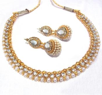 Golden Ball Pearl polki Necklace Set necklace set