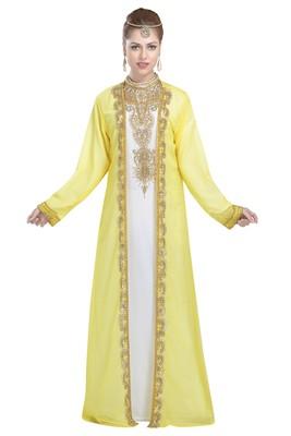 White And Yellow Georgette Islamic Kaftan With Zari And Stone Work