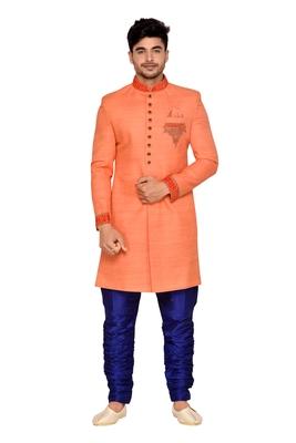 Orange  Art Silk Wedding Sherwani