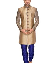 Buy Gold  brocket wedding sherwani wedding-sherwani online