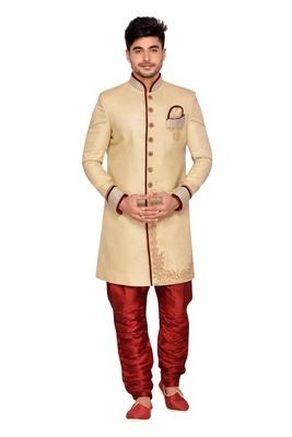 Gold  Linen Jute Wedding Sherwani
