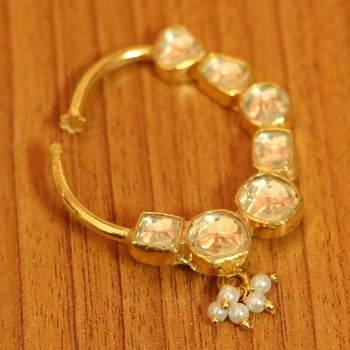Kundan Polki Gold Look Sonam Kapoor Nose Ring