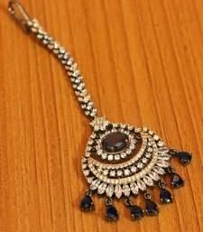 Blue Sapphire Diamond Look Victorian Finish Maang Tikka