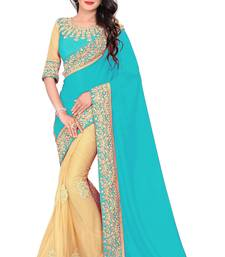 sky_blue embroidered georgette saree with blouse