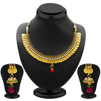 Classy Gold Plated  Temple Jewellery Coin Necklace Set for Women