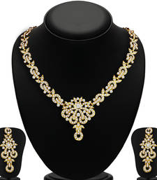 Stunning Gold Plated AD Necklace Set for Women