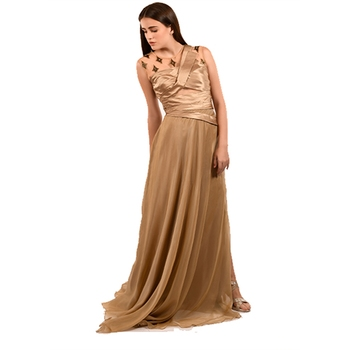 Khwaab Sweetheart with Bodice Satin Burly Wood Color Designer Gown