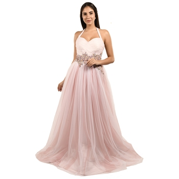 Khwaab Halter White & Pink Color Net - Satin Designer Ball Gown