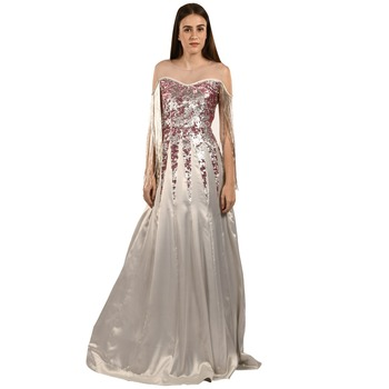 Khwaab Sweetheart Light Grey Sequins & Satin Designer Empire Gown