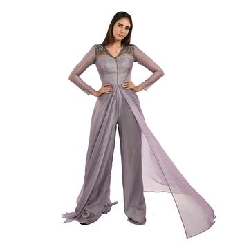 Khwaab V-neck Gray & Lavender Color Creta Fusion Jumpsuit