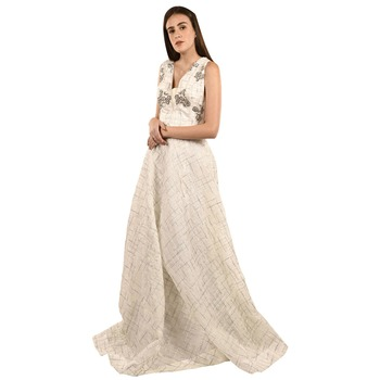 Khwaab Deep V-Neck off White Organza Sequins Embroidered Designer Gown