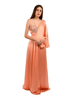 Khwaab One Shoulder with Sweetheart Satin Georgette Peach Color Party Gown