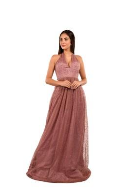 Khwaab Halter Purple Color Net Designer Ball Gown