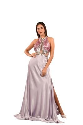 Khwaab Halter Neck Lavender Net-Satin Mermaid Gown