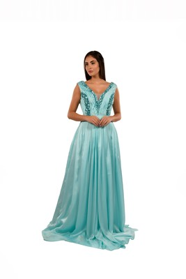 Khwaab Sky Blue Deep V-Neck Stone Work Sheath Gown