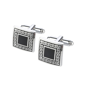 Designer Checks Square Black Silver Enamel Rhodium Plated High Quality Brass Cufflink Pair for Men