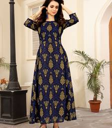 Navy blue printed cotton poly kurti