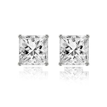 316L surgical stainless steel mens boys ear stud pair earring square princess cut american diamond
