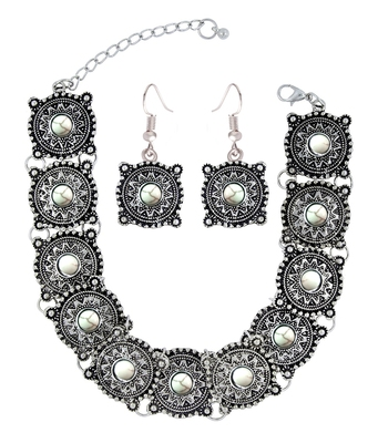 dea0725ba ZIVOM Antique Tribal Afghani Bohemian Oxidised German Silver White Beads  Choker Necklace Earring Set Girls Women - the jewelbox - 2099737