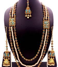 Firozi antique gold plated bridal wedding diamond pearl long rani haram jewellery