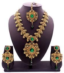 Green antique gold plated bridal wedding diamond jewellery