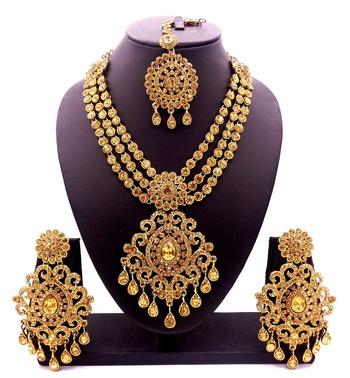Golden Lct Antique Gold Plated Bridal Wedding Diamond Jewellery