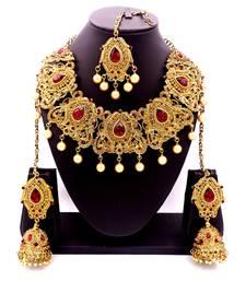 Maroon antique gold plated bridal wedding diamond jewellery