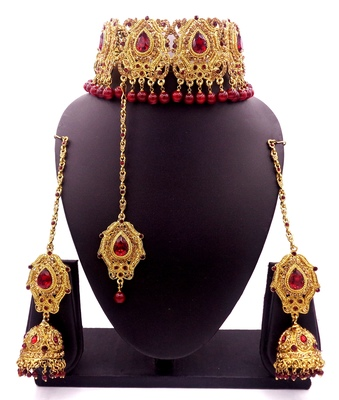 Maroon antique gold plated bridal wedding diamond jewellery