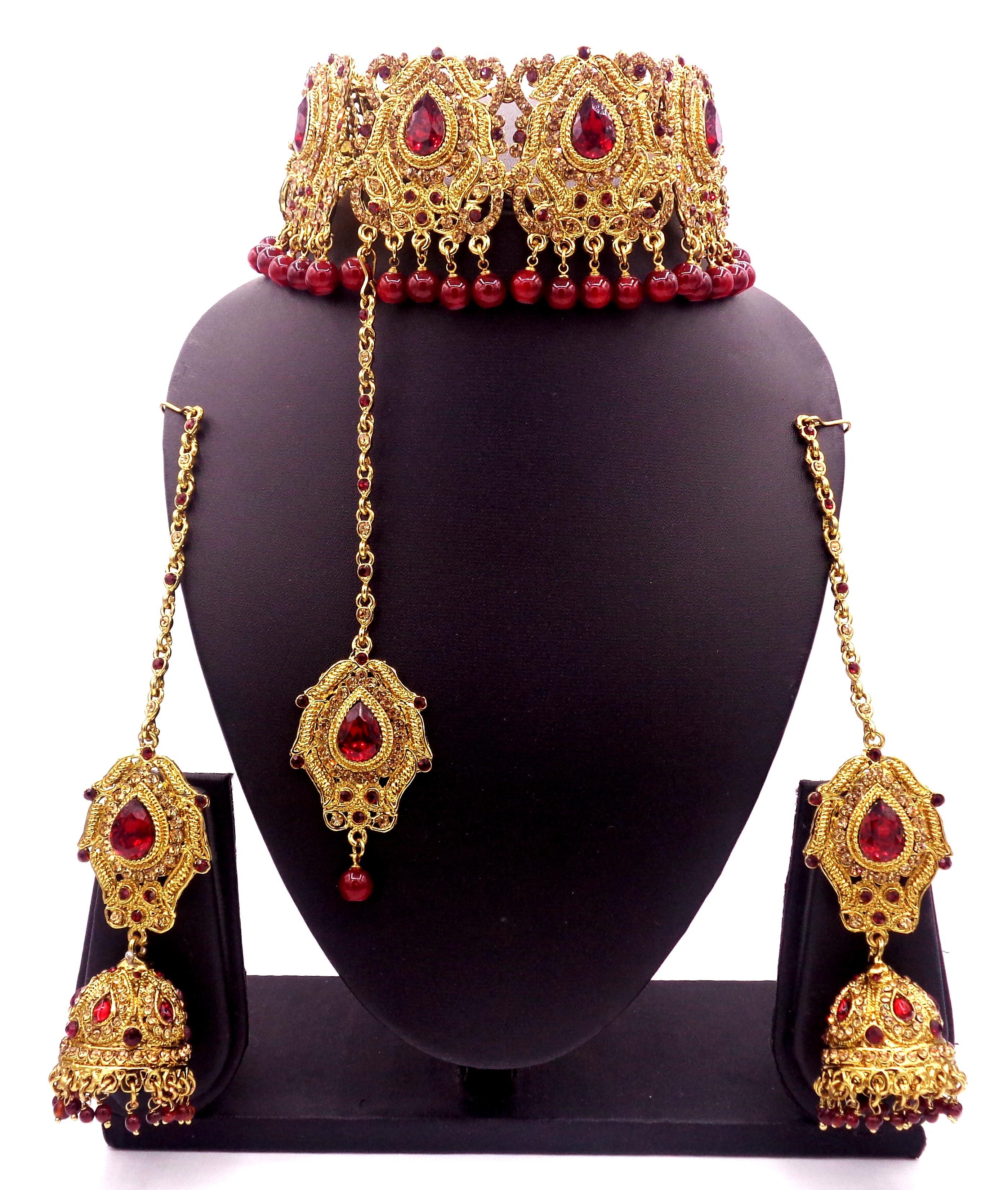 181871fa3da08 Maroon Jewellery – Buy Maroon Colour Jewellery Sets Online For Women ...