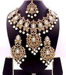 White antique gold plated bridal wedding diamond  jewellery