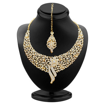 Sleek Gold plated AD Stone Necklace Set