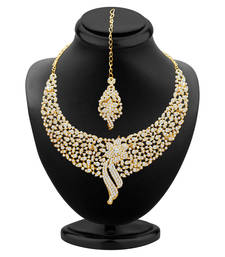 Buy Sleek Gold plated AD Stone Necklace Set hot-deal online