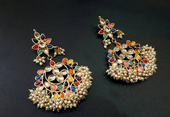 Multicolor Chandbali Earrings