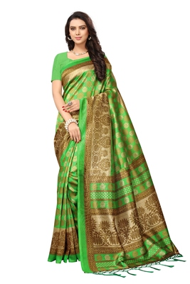 Green printed saree with blouse