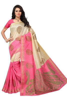 Pink printed saree with blouse