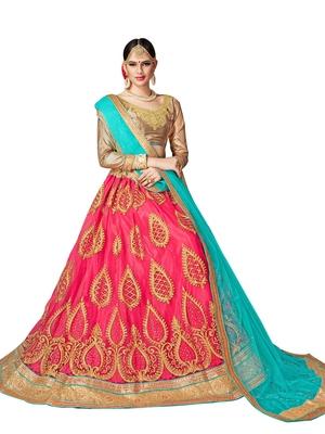 a3492c08da2 Pink embroidered net semi stitched lehenga with dupatta - AASVAA FASHION -  2663684