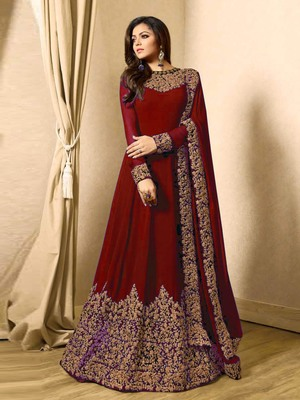 Red Embroidered Faux Georgette Anarkali Suit