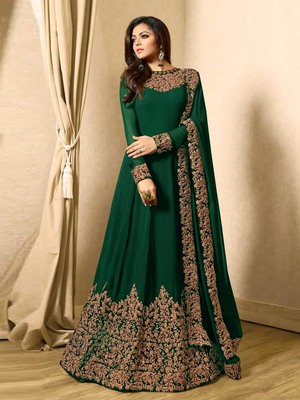 Green Embroidered Faux Georgette Anarkali Suit