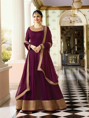 Purple Embroidered Faux Georgette Salwar With Dupatta
