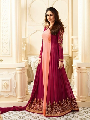 Peach Embroidered Faux Georgette Salwar With Dupatta