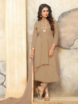 Chiku Embroidered Faux Georgette Salwar With Dupatta