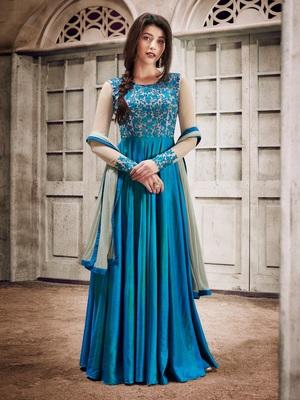 Sky-Blue Embroidered Silk Salwar With Dupatta